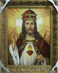 Иисус Христос Царь Вселенной - икона католическая (30х40,холст,масло,2017 г.)