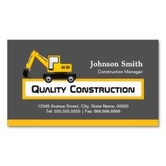 Construction manager yellow excavator business card templates quality construction company elegant yellow business cards wajeb Choice Image