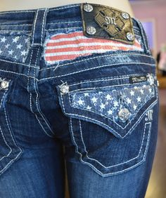 Miss Me Jeans Women's American Flag Stars Stripes Sequin Fill Boot Cut Dark Wash