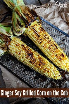 This Asian-inspired Ginger Soy Grilled Corn recipe is sure to be a big hit! Serve it alongside our Ginger Soy Beef with Chile Tomatoes for a delicious meal. Corn Recipes, Fun Easy Recipes, Side Dish Recipes, Easy Meals, Delicious Recipes, Vegetable Recipes, Summer Recipes, Asian Recipes, Healthy Recipes