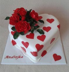 Cake Icing, Fondant Cakes, Cupcake Cakes, Fondant Tips, Heart Shaped Cakes, Heart Cakes, Patisserie Fine, Happy Anniversary Cakes, Cake For Husband