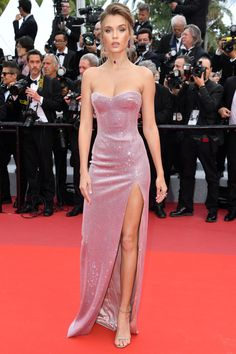 Josephine Skriver in a strapless Swarovski crystal embellished gown with high slit by Philosophy Di Lorenzo SerafiniAll the Must-See Looks from the amfAR Gala, Plus More Standout Cannes StyleKeri Nicole keriponting Fashion Josephine Skriver in a stra Josephine Skriver, Gala Dresses, Red Carpet Dresses, Nice Dresses, Formal Dresses, Hollywood Red Carpet, Hollywood Style, Embellished Gown, Column Dress