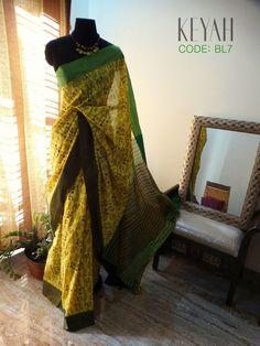 CODE BL7 Warli Printed Khadi Cotton Saree. -- Send us a MESSAGE for ENQUIRIES/PRICE.