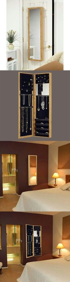 Multi-Purpose 168165: Jewelry Mirror Armoire Door Hanging Wall Mounted Oak Storage Organizer Cabinet BUY IT NOW ONLY: $114.99