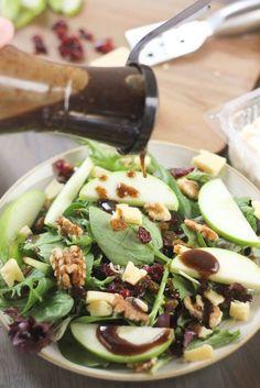 Cheddar & Apple Winter Salad with Balsamic Feta Vinaigrette