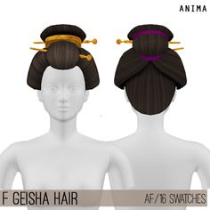 Geisha Hair for The Sims 4 by Anima Sims Hair, Asian Hair Sims 4, Sasuke Uchiha Cosplay, 4 Kingdoms, Geisha Hair, The Sims 4 Cabelos, Sims Packs, Wacky Hair, Sims4 Clothes