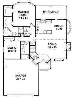 Plan #1103 - Ranch style small house plan w/ Bay windows