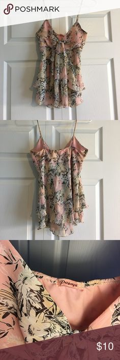 Papaya top - size M runs small - brwn, pink, white Gently used Papaya ruffle top with spaghetti straps.  Light layering with tie in front. Elastic along the upper back.  Floral print in brown, pink, white & beige.  Size Medium but runs small. Papaya Tops Camisoles
