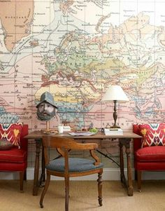 Love map walls. My living room.  THIS.  Perfect.  Maybe I can invite girlfriends over, provide wine and we decoupage all night!  Sound FUN?  giggle