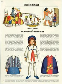 Vintage March 1971 Magazine Paper Doll Betsy McCall Sunday at the Metropolitan Museum of Art