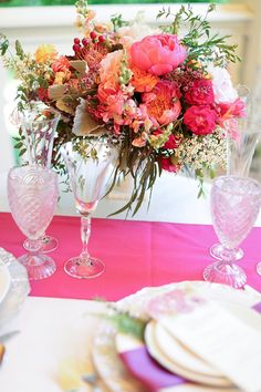 A beautiful tablescape including our vintage pink Carousel glassware: http://www.rentalresourcepartners.com/product/carousel