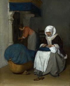 https://flic.kr/p/rkEyUZ   Gerard ter Borch - Woman Sewing Beside a Cradle [c.1655-56]   [Mauritshuis, The Hague - Oil on canvas, 46.5 x 38 cm]