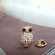 Rhinestone Owl Lapel Pin Pave Vintage Gold Owl Lapel Brooches - Owl Jewelry