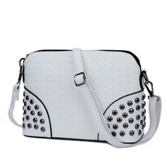 KGS Tas Casual Wanita Woven Studded Sling Bag 1049 - Putih - Int: One size