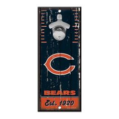 Show off your pride in Da Bears and tackle your thirst with this NFL® Chicago Bears™ Bottle Opener Sign! It's great for a Bears fan's . Chicago Bears Man Cave, Nfl Chicago Bears, Retro Fan, Bear Signs, Wall Mounted Bottle Opener, Wood Vinyl, Oriental Trading, Diy Home Crafts, Wooden Walls