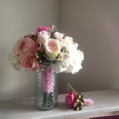 Raspberry, soft pink and white silk bridal bouquet and boutonnière #afloral