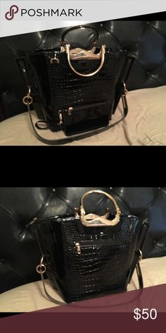 Black Patent Leather Shoulder purse Black patent leather purse with a cell phone case! Used but in good condition. Bags Shoulder Bags