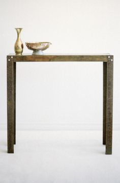 Recycled Wood and  Angle Iron Console $260 - Toronto http://furnishly.com/recycled-wood-angle-iron-console.html