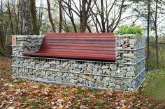 mur en gabion -banc-intégré