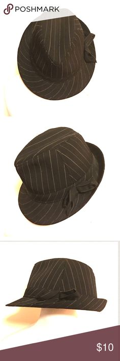 5476df10429 Black With Pinstripes Fedora Very chic hat for a chic lady size small to  medium. This hat will top off any out fit.