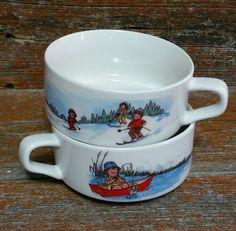 Vintage Campbells Soup Kids Bowls, Ceramic Soup Bowls, Soup Mugs by EmptyNestVintage on Etsy