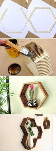 Check out this beautiful popsicle stick hexagon shelf DIY. Check the board for more DIY crafts for your home. Craft Stick Crafts, Decor Crafts, Diy Room Decor, Home Crafts, Diy And Crafts, Arts And Crafts, Wood Sticks Crafts, Diy Crafts For Bedroom, Wall Decor