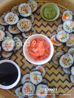Assorted sushi rolls w soy, wasabi and pickled ginger