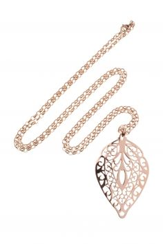 stainless steel necklace with leaf pendant