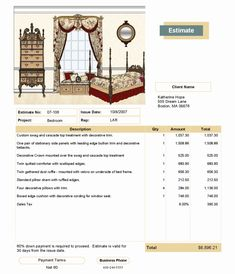 Interior Design Invoice Template Sample 2016 Window Treatment Software And Space