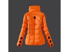 sale Moncler Damen dünne Art Trichter Kragen Daunen jacke orange Onlineshop
