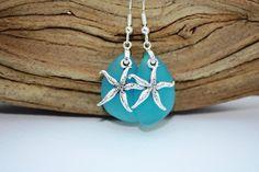 Aqua Sea Glass Earrings Star Fish Starfish Earrings by DRaeDesigns Ocean Jewelry, Seashell Jewelry, Nautical Jewelry, Sea Glass Jewelry, Beach Jewelry, Starfish Earrings, Glass Earrings, Hawaiian Jewelry, Aqua