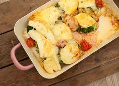 ovenschotel met zalm, broccoli en brie