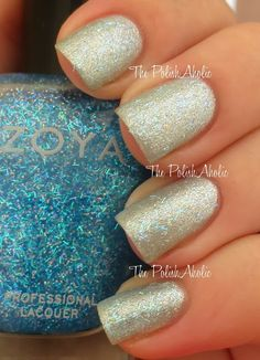 Mosheen is iridescent bar glitter and iridescent small hex glitter in a sheer icy blue base. Because the base is sheer it can be put over pretty much anything without altering the base color too much. One coat here over Seraphina also by Zoya from the 2013 holiday collection