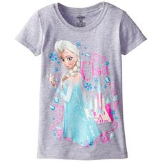 Frozen Little Girls Elsa Puff Sleeve TShirt Heather Grey 56 -- Want additional info? Click on the image.