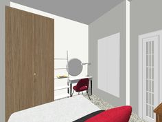photo of bedroom facing mirrors