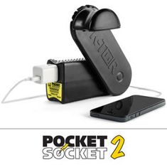 The Pocket Socket 2 is a hand powered generator that charges electronics by hand crank. It generates up to 10watts of electricity at 120 volts. That is enough power to charge a wide range of devices.