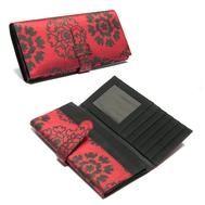 $34 :: Silk Red Floral Wallet