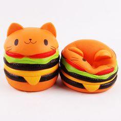 1pc New Cute Jumbo Squishy Hamburger Cat PU Slow Rising Stretchy Scented Cake Bread Charms Kawaii Squishies Kids Toys 9.5X11cm