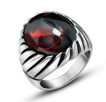 Punk Never Fade Stainless Steel Ruby Rings For Men Big Red Black Natural Stone Ring Men CZ Diamond Wedding Jewelry Anel Noble
