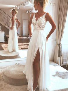 Lace Beach Wedding Dress, Applique Wedding Dress, Dream Wedding Dresses, Modest Wedding, Wedding White, Backless Wedding, Boho Wedding, After Wedding Dress, Beach Bridal Dresses