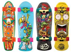Reminds me of the good old days of skateboarding. Santa Cruz x The Simpsons Skateboard Decks Old School Skateboards, Cool Skateboards, Skateboard Design, Skateboard Decks, The Simpsons, Skates, Longboard Cruiser, Tech Deck, Skate Shop
