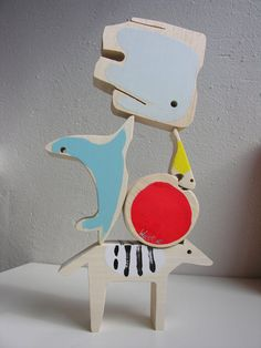 Animals Act, balancing toy, handmade in The Netherlands, by WatCat art toys