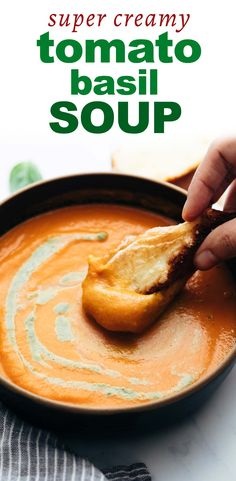 Homemade tomato basil pesto soup uses roasted tomatoes, carrots and onions as a base. Fall Recipes, Soup Recipes, Vegetarian Recipes, Dinner Recipes, Cooking Recipes, Recipies, Creamy Tomato Basil Soup, Basil Pesto, Tomato Bisque Soup