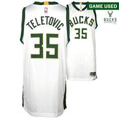 0d773e67524 ... mirza teletovic milwaukee bucks fanatics authentic game used 35 white  jersey vs.