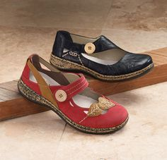 Rieker Button Shoes: Red