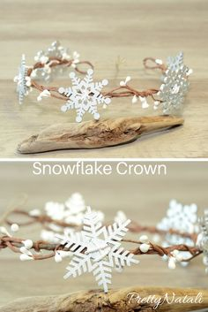 Lovely Christmas head wreath made from wire, hand painted wooden snowflakes, artificial berries. Great idea for a professional photo sessions like a photo prop, Christmas party and festivals, winter wedding flower girls. Size of snowflakes 50 mm / 2 inch Dress Flower, Crown Flower, Queens Tiaras, Wooden Snowflakes, Snowflakes Art, Snow Flakes Diy, Diy Crown, Winter Wedding Flowers, Wedding Headband