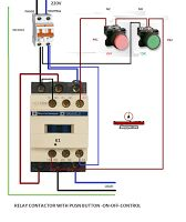 Electrical diagrams: RELAY CONTACTOR WITH PUSH BUTTON ON OFF CONTROL