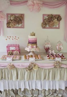 Princess party - the gold and pink are great! And the ruffle layering on the cake is fun!