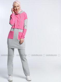 Pink - Gray - Cotton - Tracksuit Set - Benin Stylish Hijab e10629919
