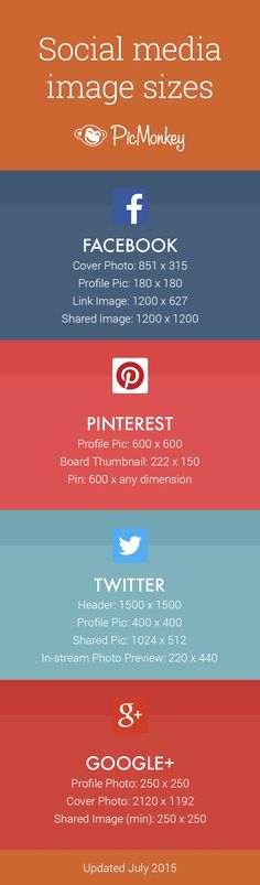 A nifty social media image size cheat sheet for quick and easy reference when creating your social images.